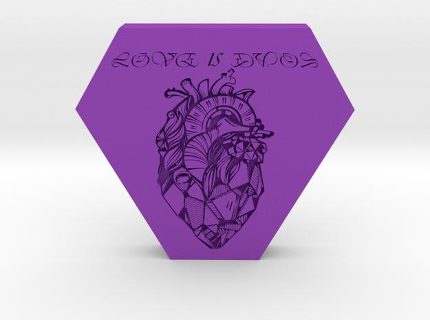 love is evol pendant 2 in Purple Processed Versatile Plastic