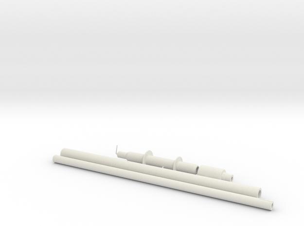 Pre-Pro #2 Flamethrower Aluminum Parts in White Natural Versatile Plastic