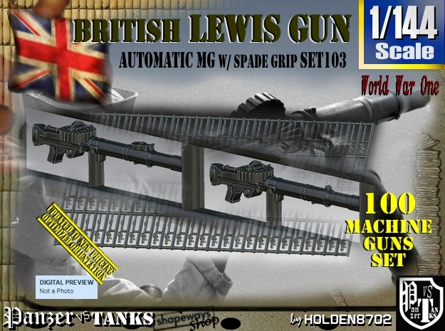 1/144 Lewis Auto Machine Gun Naval Set103 in Smoothest Fine Detail Plastic