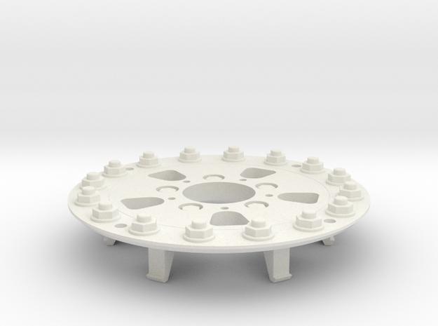 TRX-4 Hutchinson Wheel Cap 16 Nuts - One Piece in White Natural Versatile Plastic