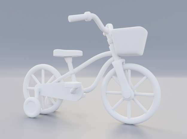 Kids bicycle with training wheels in White Natural Versatile Plastic