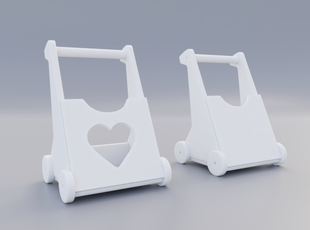 Baby walker with heart in White Natural Versatile Plastic