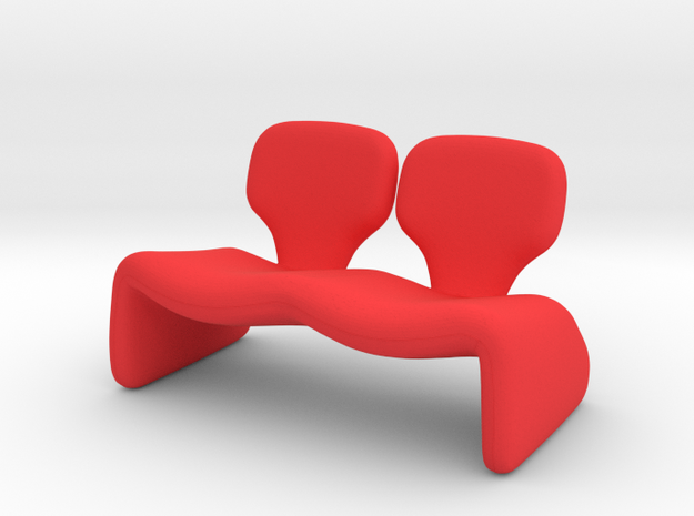 Tiny Djin Couch in Red Processed Versatile Plastic