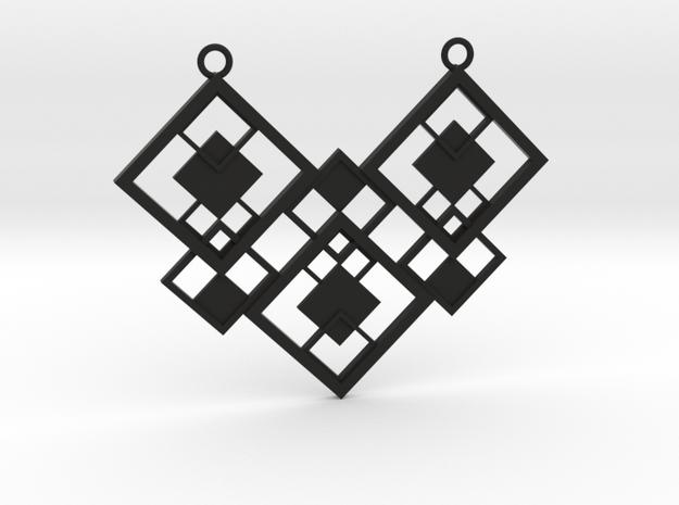 Geometrical necklace no.2 in Black Natural Versatile Plastic: Large