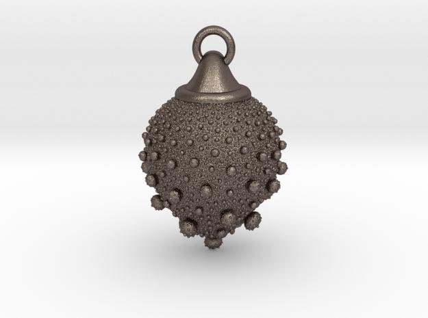 Fractal pendant - Strawberry fields  in Polished Bronzed-Silver Steel