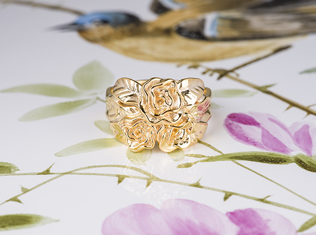 Romantic Rose Ring. in 18k Gold Plated Brass: 7 / 54