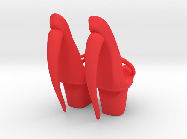 Star Burst Platform Shoes in Red Processed Versatile Plastic: Large