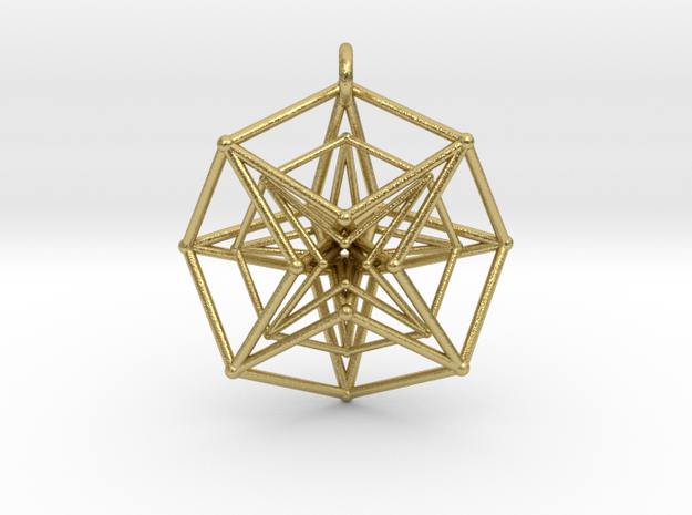 Double Hypercube pendant with ring in Natural Brass