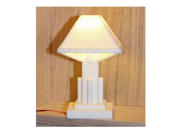 1/6 scale Arts and Crafts Lamp in White Strong & Flexible Polished