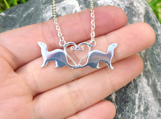 Double Ferret Pendant  in Polished Silver