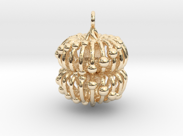 Double Torus  Electromagnetic Field Pendant in 14k Gold Plated Brass: Medium