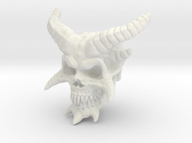 Demon Skull v2  in White Natural Versatile Plastic