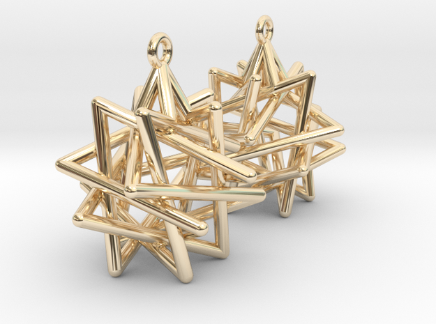 Tetrahedron Star Earrings in 14k Gold Plated Brass