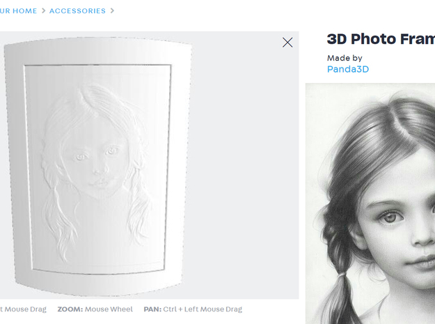 3D Photo Frame (Embossed photos) in White Natural Versatile Plastic