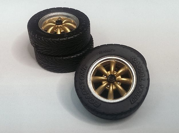 """1/24 15"""" EMPI 8-spoke wheels with tires in Smooth Fine Detail Plastic"""