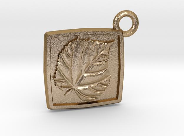 Linden leaf keychain in Polished Gold Steel