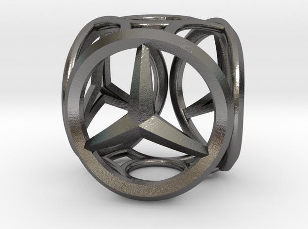 Mercedes Bead in Polished Nickel Steel