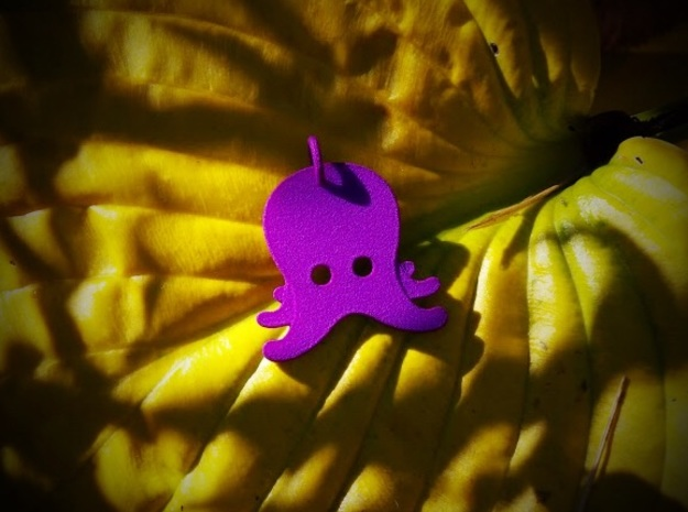 Octopus Emoji Pendant in Purple Processed Versatile Plastic