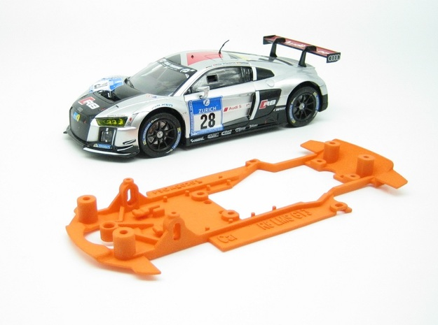 PSCA00201 Chassis for Carrera Audi R8 LMS GT3 in Orange Processed Versatile Plastic