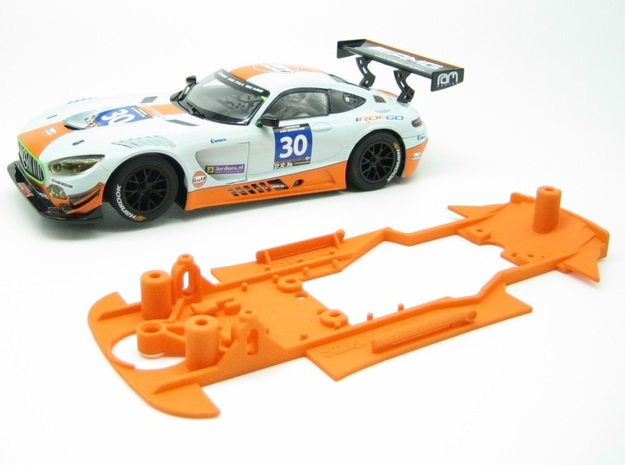 PSSX00101 Chassis for Scalextric Mrcedes AM GT3 in Orange Processed Versatile Plastic
