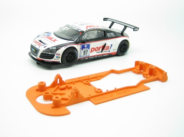 PSSX00301 Chassis for Scalextric Audi R8 LMS GT3 in Orange Processed Versatile Plastic