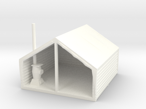 S Scale Miners' / Logger's Tent Cabin in White Processed Versatile Plastic