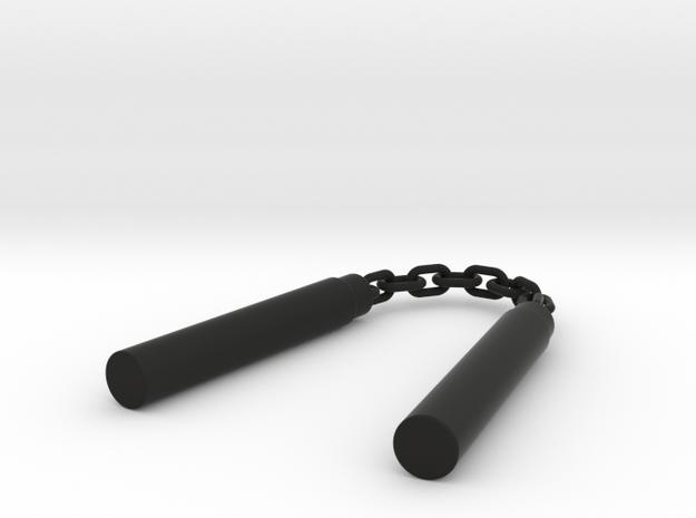 Nunchaku Keychain in Black Natural Versatile Plastic