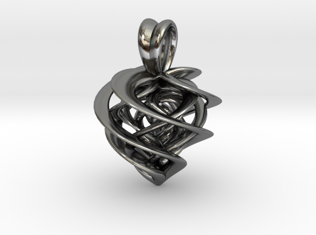 Twisted Heart in Polished Silver