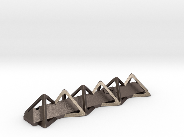 Triangular Mezuzah in Polished Bronzed-Silver Steel