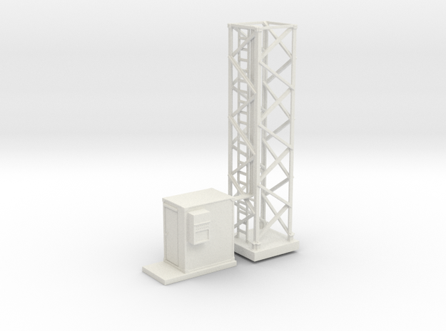 Light Tower Base Site 1-87 HO Scale in White Natural Versatile Plastic