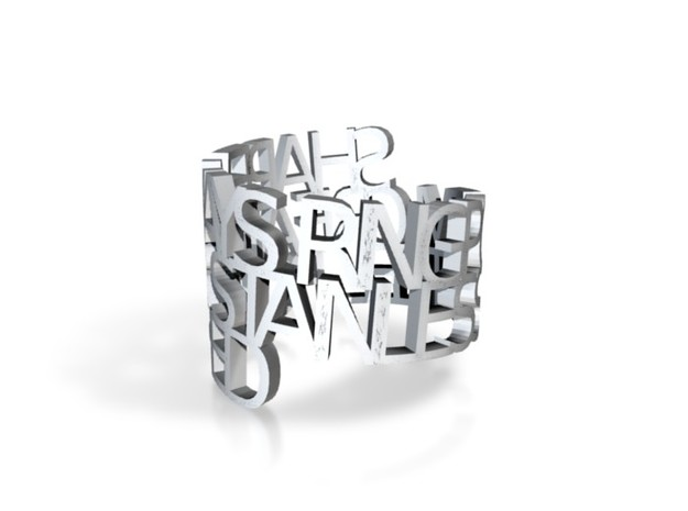 Ring Poem - Stainless steel polished in White Natural Versatile Plastic