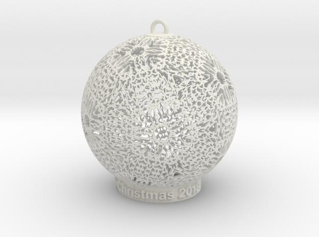 Tree Ornament 1 in White Natural Versatile Plastic