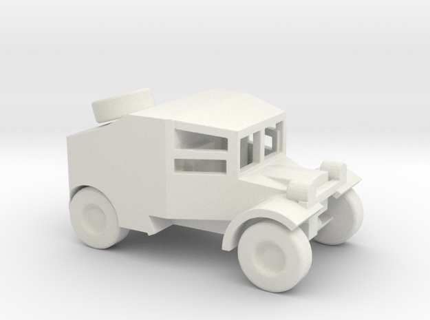 1/100 Scale Morris Armored Car in White Natural Versatile Plastic
