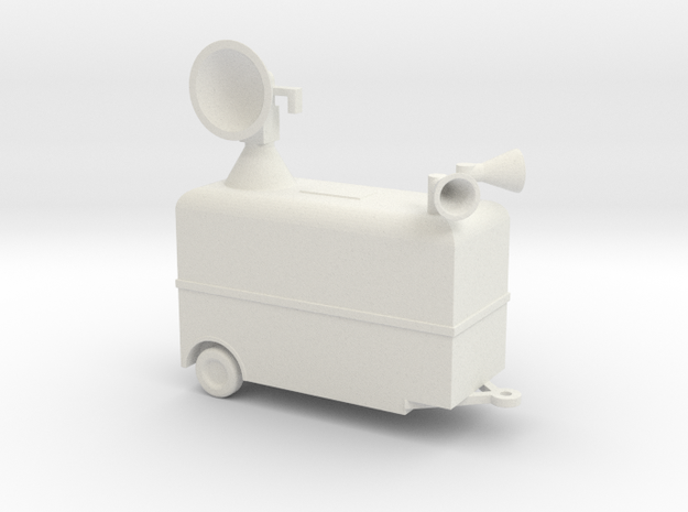 1/110 Scale Radar Trailer in White Natural Versatile Plastic