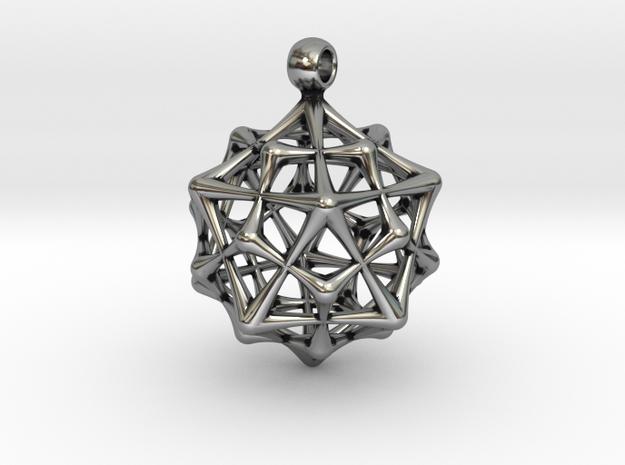 ICOSADODECAHEDRON in Antique Silver