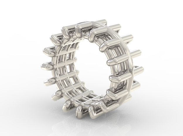 WIREFRAME RING- SIZE 8 in Rhodium Plated