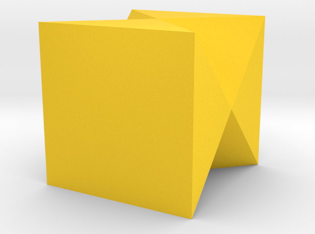 Inverted Tridecagon Vase in Yellow Processed Versatile Plastic