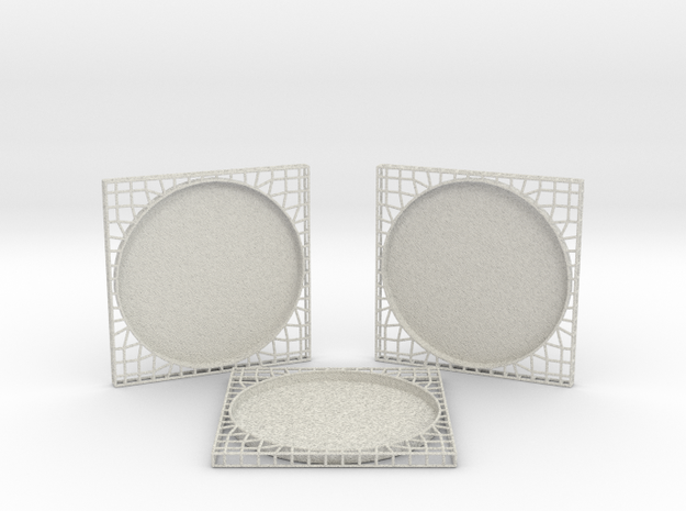 3 Semiwire Coasters in Natural Full Color Sandstone