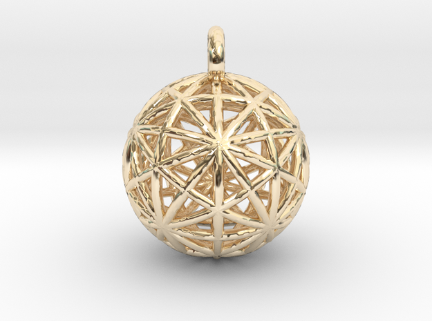 Earth Grid - disdyakis triacontahedron - 26mm diam in 14k Gold Plated Brass