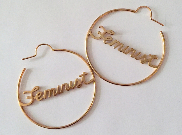 Feminist Hoop Earrings in 14k Gold Plated Brass