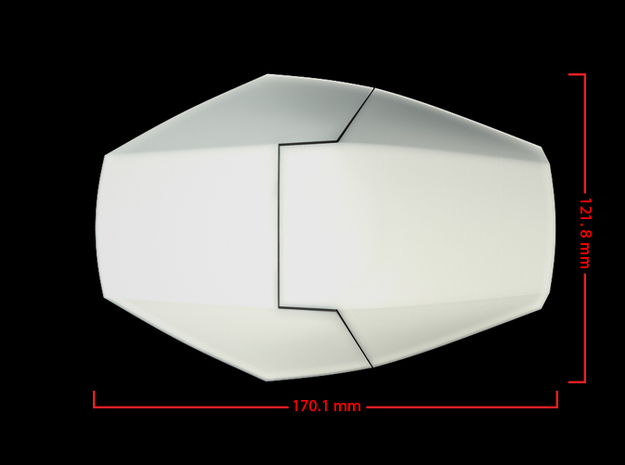 Iron Man Handshield Armor (one hand) 3d printed CG Render (Top Measurements)