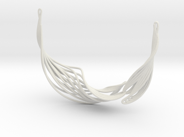 Rib Ribbon Necklace 10.7 in White Natural Versatile Plastic