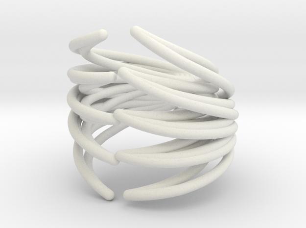 Rib Cage Ring in White Natural Versatile Plastic
