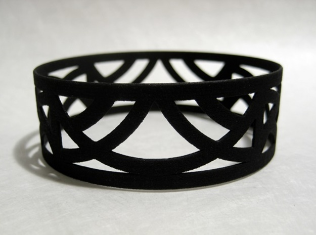 Art Deco Bangle Bracelet  in Black Strong & Flexible