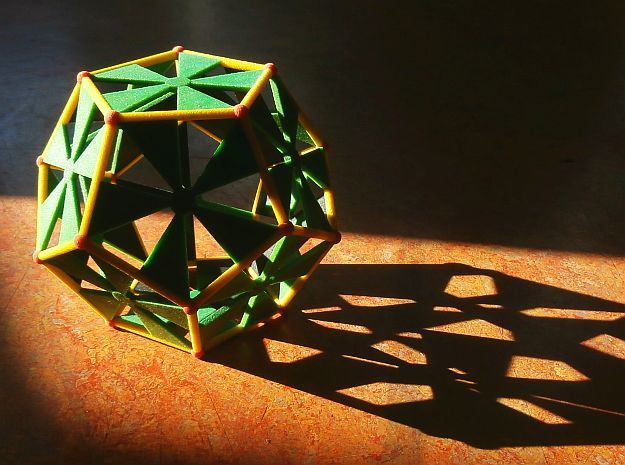 Colored Sandstone dodecahedron, 10 cm in Full Color Sandstone
