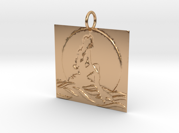 Mermaid's Moon Pendant in Polished Bronze: Medium