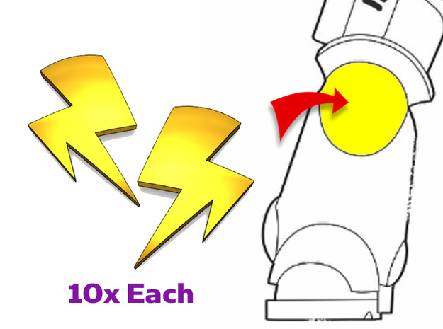 20x Twin Bolts : Small Concave Insignias in Smooth Fine Detail Plastic