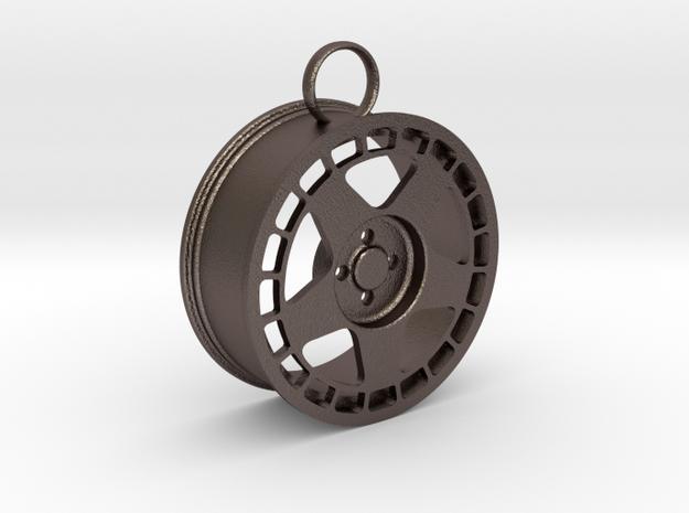 Fifteen52 Turbomatic wheel keychain in Polished Bronzed-Silver Steel