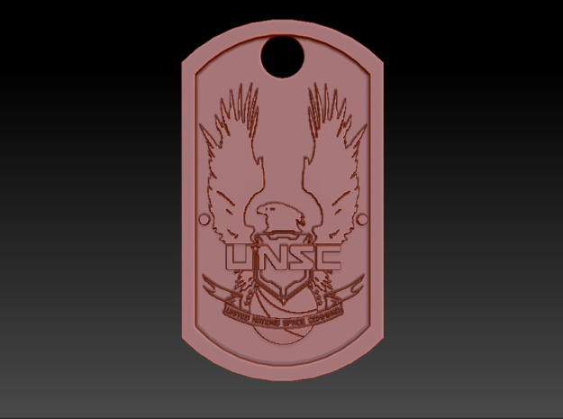 UNSC Halo Themed Dog Tag in Matte Black Steel
