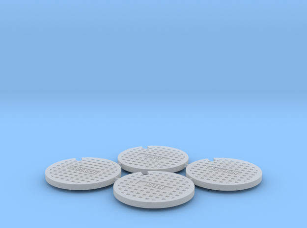Waffle Pattern Manhole Set 1:32 Scale in Smooth Fine Detail Plastic